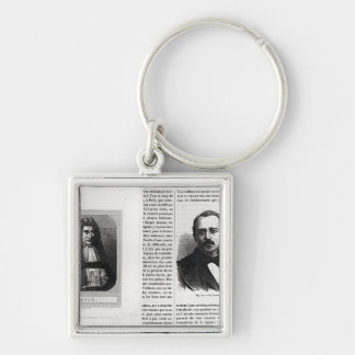 Portraits of Denis Papin  and Etienne Lenoir Silver-Colored Square Key Ring