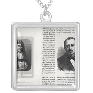 Portraits of Denis Papin  and Etienne Lenoir Silver Plated Necklace