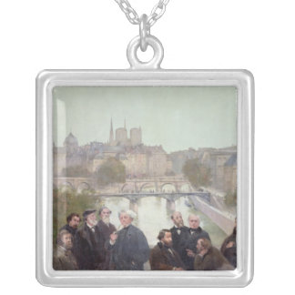 Portraits of French artists and authors Silver Plated Necklace