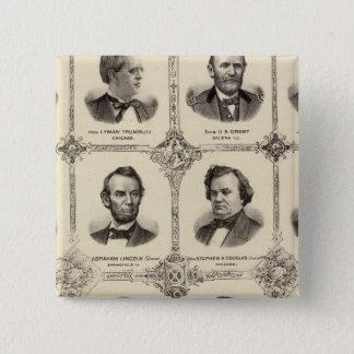 Portraits of Gustavus Koerner 15 Cm Square Badge