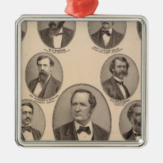 Portraits of Hon Thomas A Hendricks Silver-Colored Square Decoration