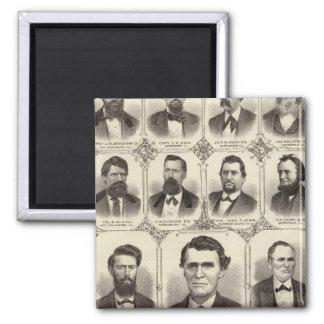 Portraits of John C Hall and Prof JW Bradshaw Square Magnet
