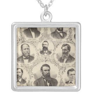 Portraits of LW Tubbs, John Chaney, CH Lane Silver Plated Necklace