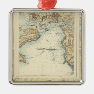 Ports and Harbours on the South Coast of England Silver-Colored Square Decoration