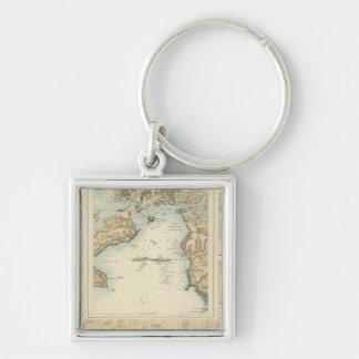 Ports and Harbours on the South Coast of England Silver-Colored Square Key Ring