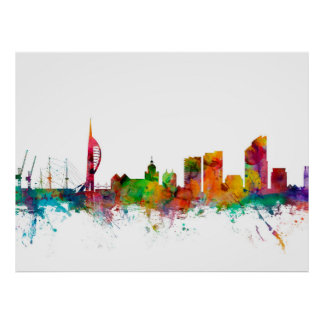 Portsmouth England Skyline Poster