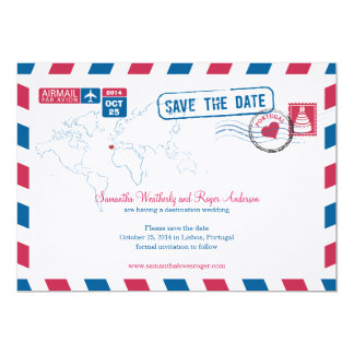 Portugal Air Mail Wedding Save The Date Card