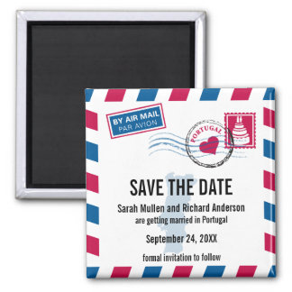 PORTUGAL Air Mail Wedding Save the Date Square Magnet