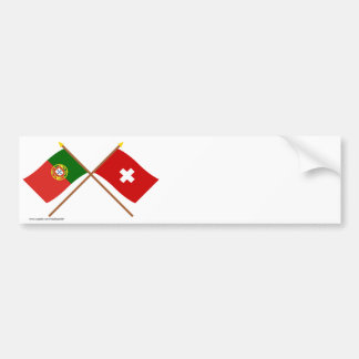 Portugal and Switzerland Crossed Flags Bumper Sticker