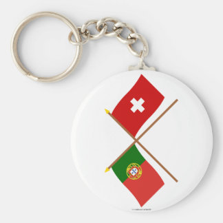 Portugal and Switzerland Crossed Flags Key Ring