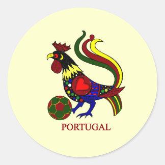 """Portugal barcelos """"galo"""" jogador de futebol round sticker"""