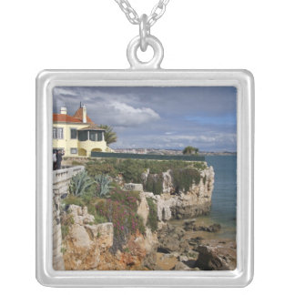 Portugal, Cascais. Praia da Rainha, a beach in 2 Silver Plated Necklace