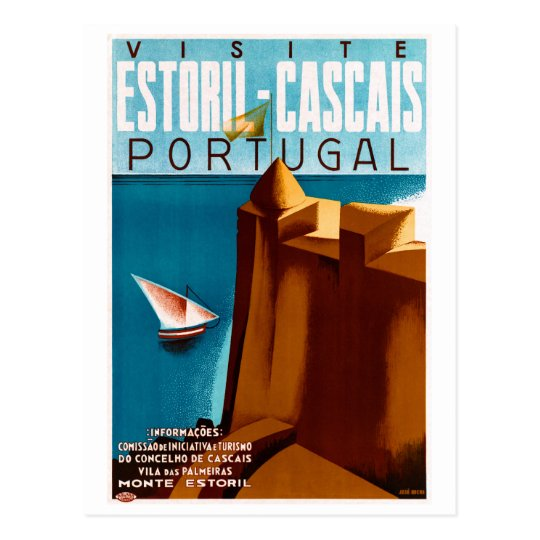 Portugal Estoril Vintage Travel Poster Restored Postcard