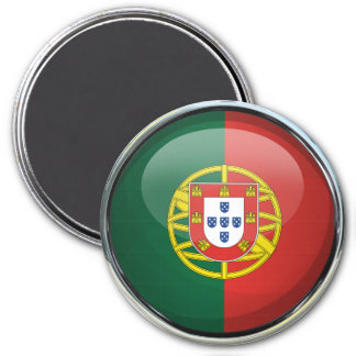 Portugal Flag Glass Ball 7.5 Cm Round Magnet