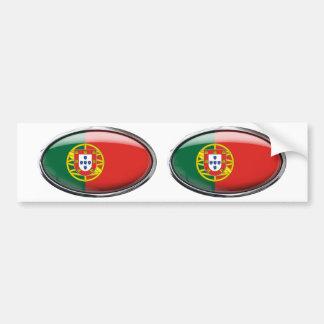 Portugal Flag Glass Oval Bumper Sticker