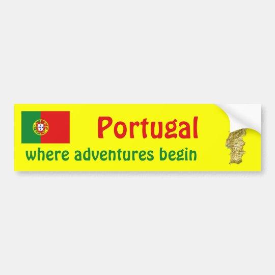 Portugal Flag + Map Bumper Sticker