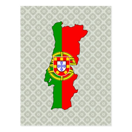 Portugal Flag Map full size Postcards