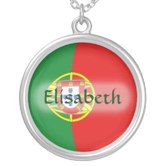 Portugal Flag + Name Necklace