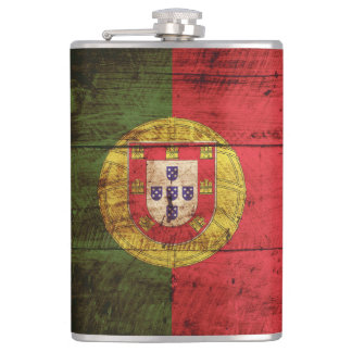 Portugal Flag on Old Wood Grain Hip Flask