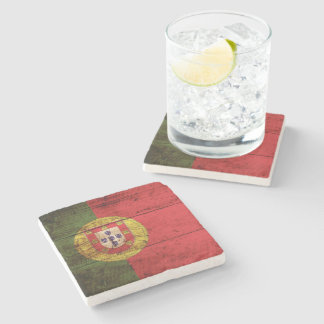 Portugal Flag on Old Wood Grain Stone Coaster