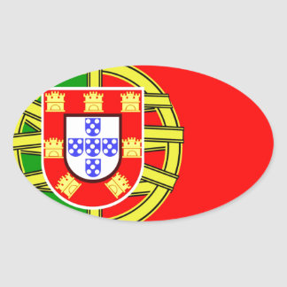Portugal Flag Oval Sticker