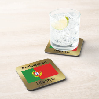 Portugal Flag+Text Coaster