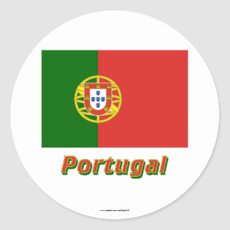 Portugal Flag with Name Round Stickers