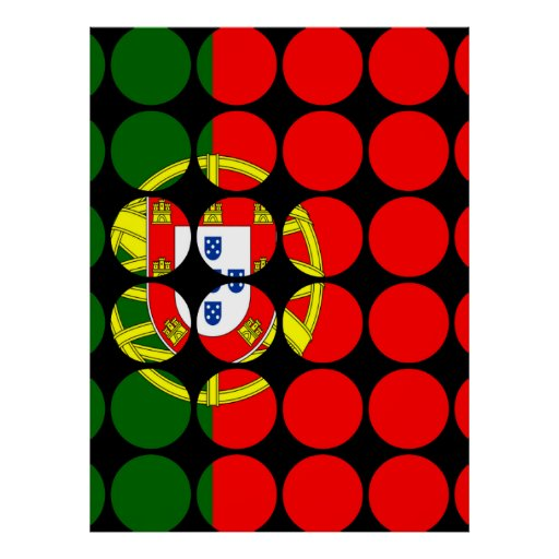 Portugal Girly Chic : Polka Dot Portuguese Flag Posters
