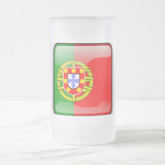 Portugal glossy flag frosted glass beer mug