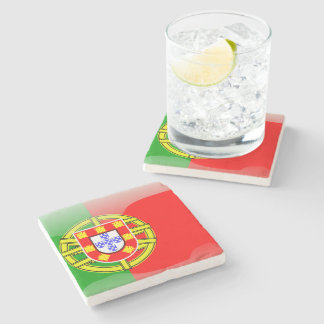 Portugal glossy flag stone coaster