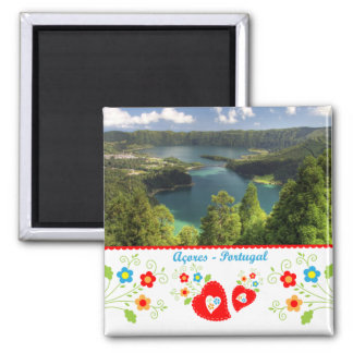 Portugal in photos - Azores lagoon Square Magnet