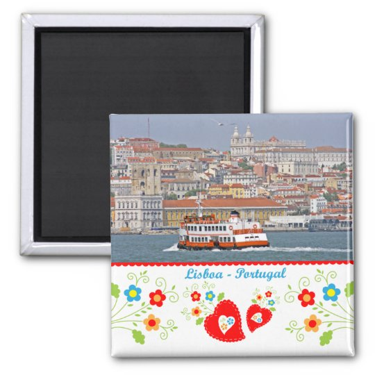 Portugal in photos - The city of Lisbon Square Magnet