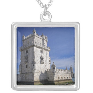 Portugal, Lisbon. Belem Tower, a UNESCO World Silver Plated Necklace