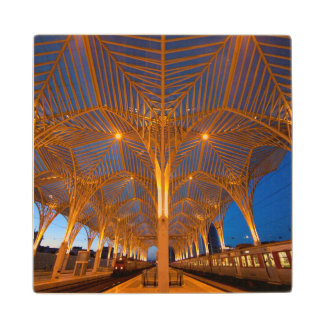 Portugal, Lisbon. View Of Modern Station Wood Coaster