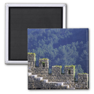 Portugal, Obidos. Steps by crenellated walls Square Magnet
