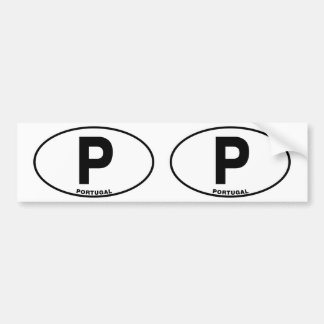 Portugal P Oval ID Identification Code Initials Bumper Sticker