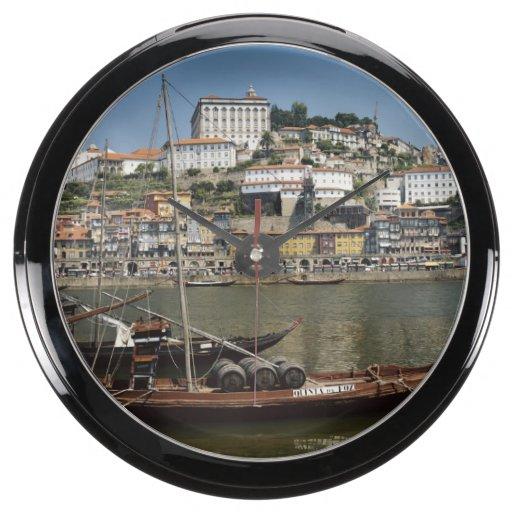 Portugal, Porto, Boat With Wine Barrels Aquavista Clocks