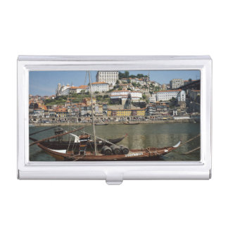 Portugal, Porto, Boat With Wine Barrels Business Card Holder