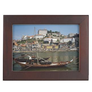 Portugal, Porto, Boat With Wine Barrels Keepsake Box