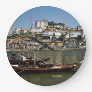 Portugal, Porto, Boat With Wine Barrels Large Clock