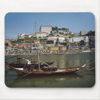 Portugal, Porto, Boat With Wine Barrels Mouse Mat