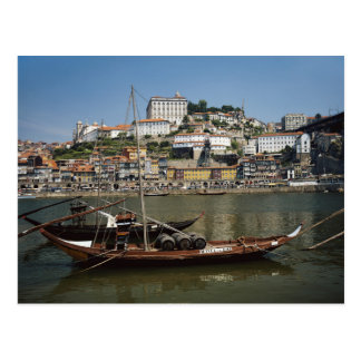 Portugal, Porto, Boat With Wine Barrels Postcard