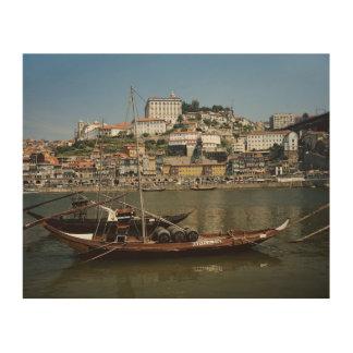 Portugal, Porto, Boat With Wine Barrels Wood Print