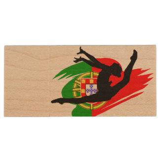 Portugal Rythmic Gymnast Wood USB 2.0 Flash Drive