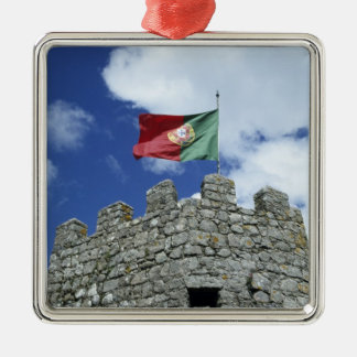 Portugal, Sintra. Portuguese flag on tower of Christmas Ornament