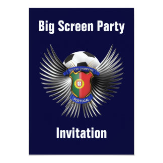 Portugal Soccer Champions 13 Cm X 18 Cm Invitation Card