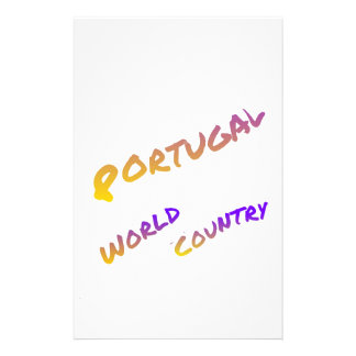 Portugal world country, colorful text art stationery