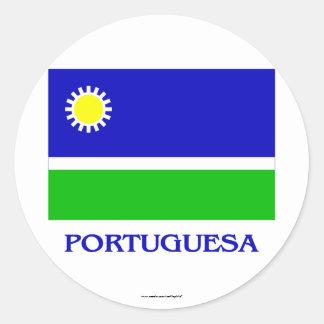 Portuguesa Flag with Name Round Sticker