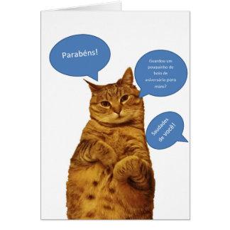 Portuguese: Aniversario - Gato Greeting Cards