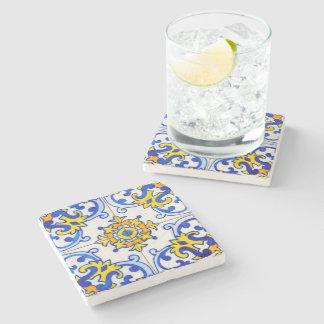 Portuguese Azulejo Art Stone Beverage Coaster